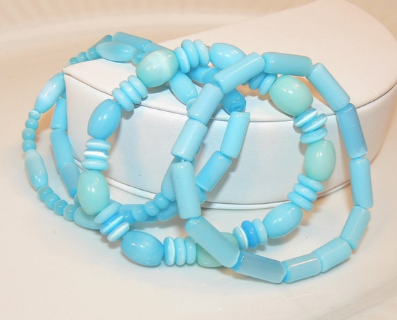 Turquoise Bracelets, Four Turquoise Stretch Bracelets, Blue Bracelets, Bracelet Set, Summer Jewelry - Ocean Side