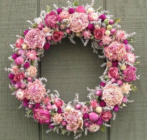 Victorian cottage garden dried flower wreath
