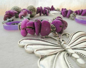 Purple Magnesite Necklace with Large Butterfly pendant and Hematite Fairies