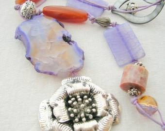 Long Blue Agate Necklace with Rose Pendant and Red Agate Tubes
