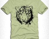 Tiger T-Shirt Mens Womens Pistachio Color T-Shirt - M L XL size shirt 303w