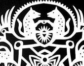 Hyena Truce - Hanging Kirigami Mandala