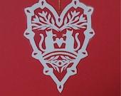 Kitty Love - Hand cut hanging kirigami heart