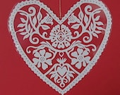 Flowers - Hand cut hanging kirigami heart