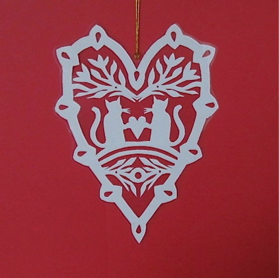 Kitty Love - Hand cut hanging kirigami heart