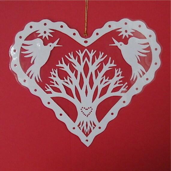 Love Tree - Hand cut hanging kirigami heart
