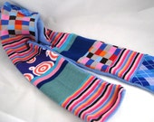 SALE - Blues and Pinks Patched Sock Scarf