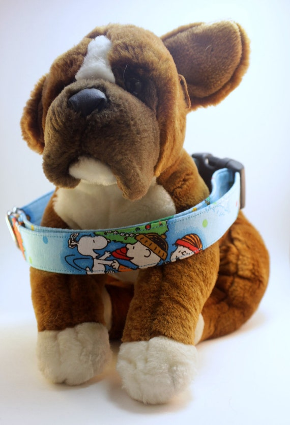 "Dog Collar - Peanuts Christmas Holiday Collar - 3/4"" - 2"" width collars - Martingale, Buckle Collars"