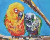 "Conure Friends (Original Piece) 14"" x 11"""