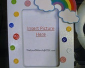 RAINBOW, Button Picture Frame, Baby Shower or Birthday favor