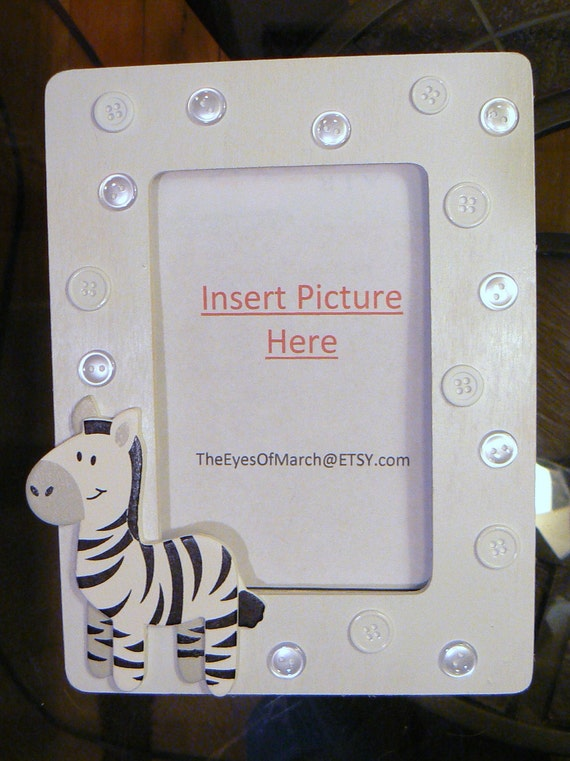 zebra button picture frame baby shower or by theeyesofmarch
