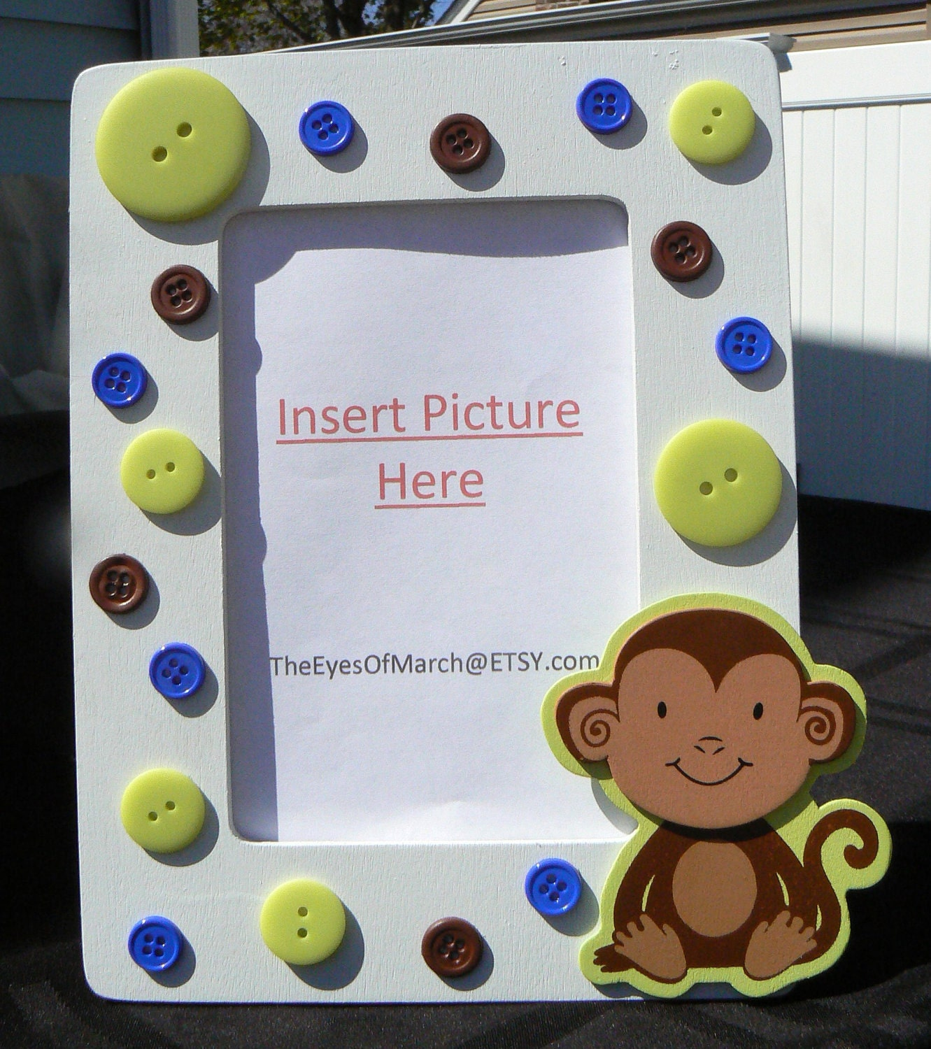monkey button picture frame baby shower or birthday favor