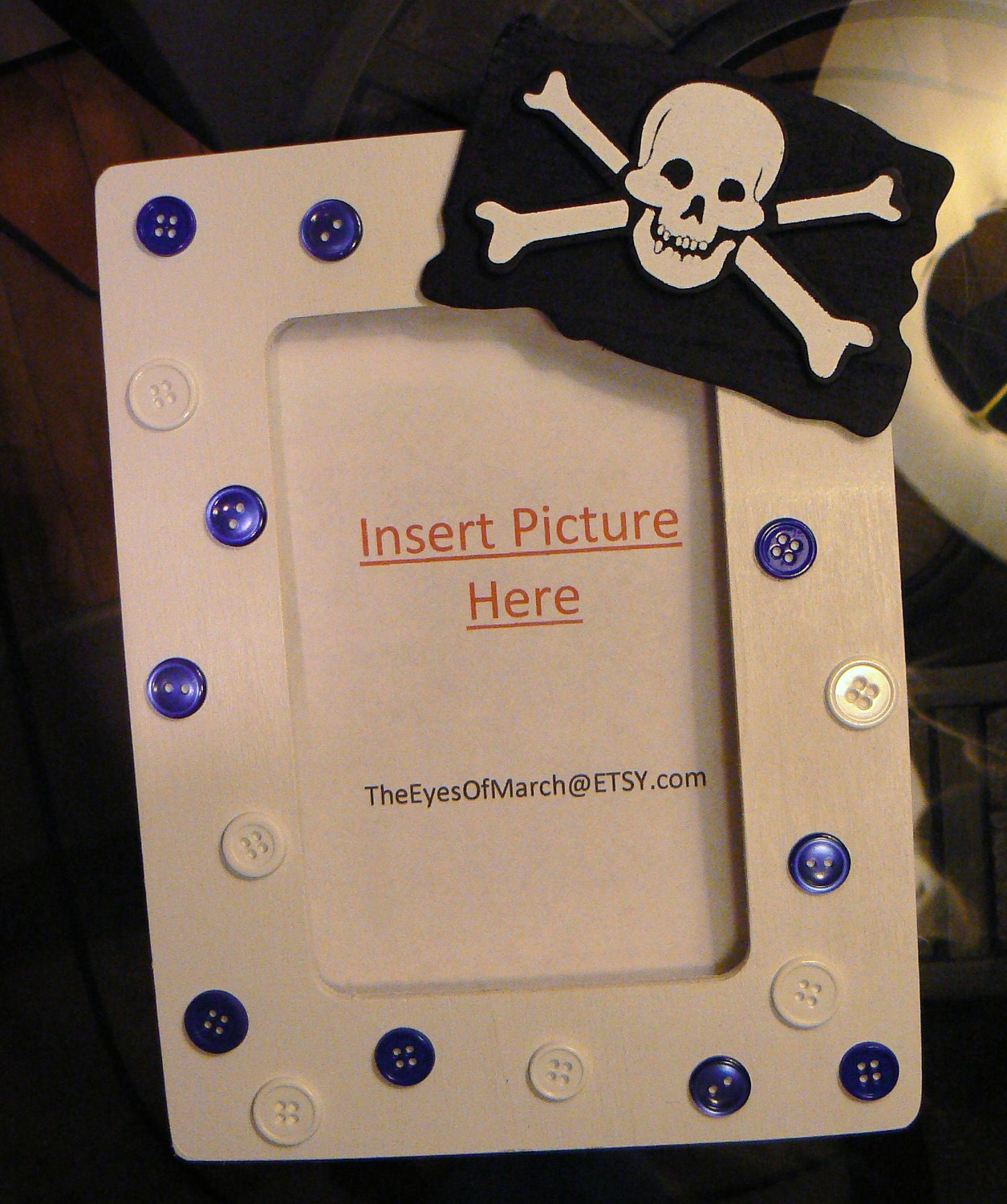 pirate button picture frame baby shower or by theeyesofmarch