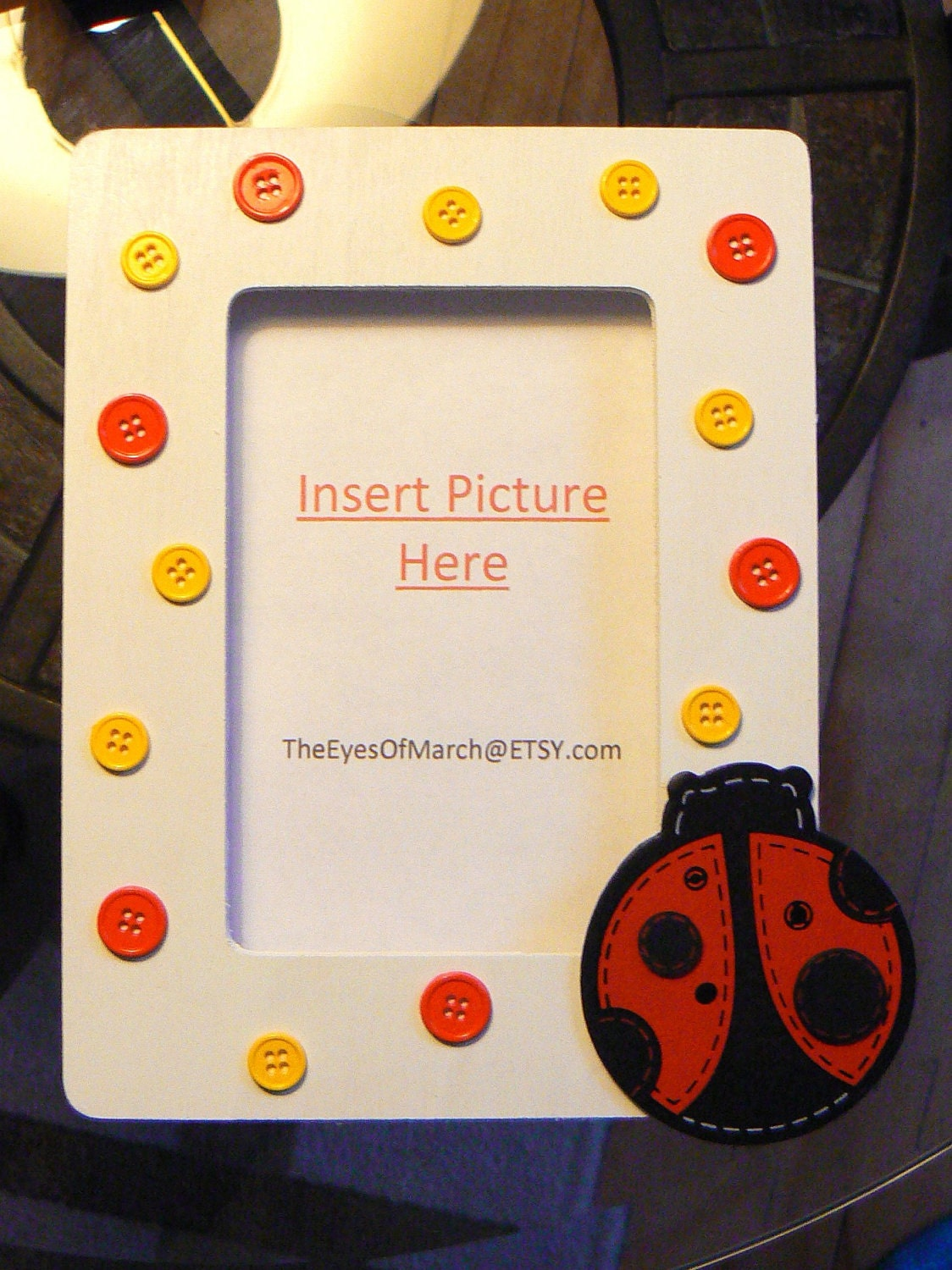 ladybug button picture frame baby shower or by theeyesofmarch