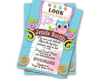 Owl Girl Invitation Birthday, Baby Shower Custom Invitation - Digital uPrint File