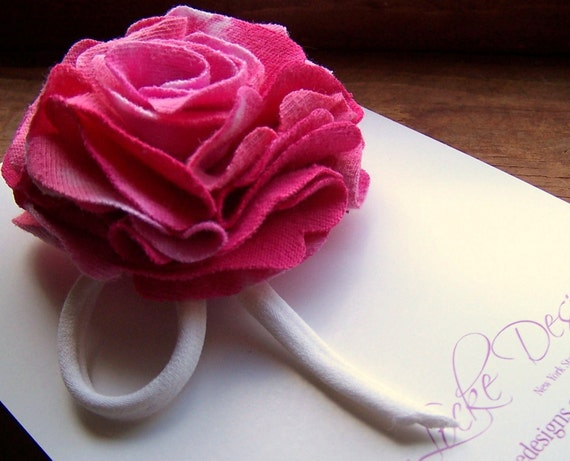 Reclaimed Cotton Brooch - Pink Peony - One Of A Kind