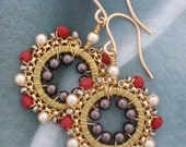 Dainty Ditty Earrings in Red, Creme, Grey/Brown, Gold and Silver