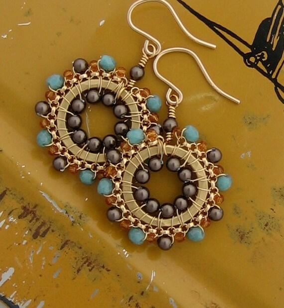 Small Dangle Beadwork Drop Earrings In Grey Brown, Turquoise and Topaz, Jewelry, Wedding