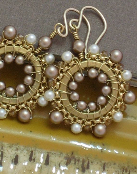 SALE Was 38 Now 28 - Small Dangle Beadwork Drop Earrings In Creme, Bronze and Light Colorado Topaz
