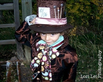 Child's Mad Hatter Jacket, tie , bandolier,  pants, and hat
