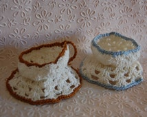 Figural 1940s Crochet Teacup Egg Holders Teacups Brown and Blue Vintage Spring