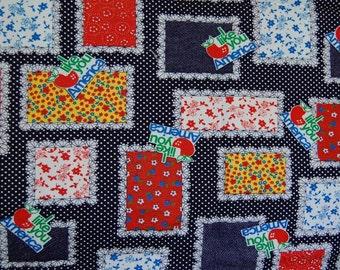 Vintage 1970s Fabric I Like You America Apple 2 Yards Novelty