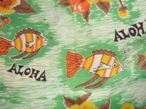 SALE - Vintage Fish Aloha Hawaii Novelty Fabric Rayon 2 Yards
