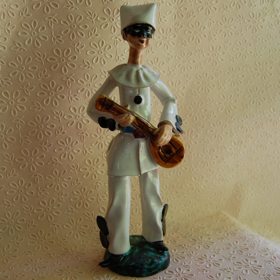 SALE:  Vintage Italian Signed Mid Century Sculpture Pierrot with Guitar
