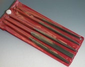 7 inch set of 5 med grit needle files w/dipped handles