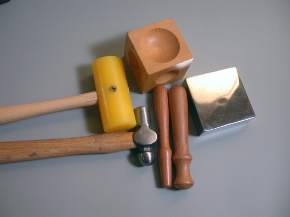 basic stamping kit tools - steel block ,ball peen hammer, plastic mallet, wood dapping block