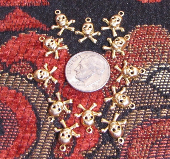 12 teeny tiny brass skull and cross bone charms unbelievably adorable