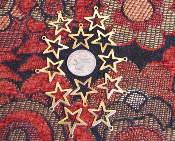 12 raw brass star charms for your stamping and jewelry - star spangled