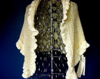 Cream Wedding Shawl with Ruffles and Fastener