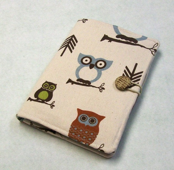 Kindle Fire Case/ Cover -Owls with Chevron Print.