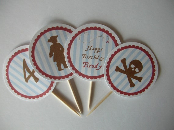 Pirate Boy Birthday Party Cupcake Toppers- set of 12