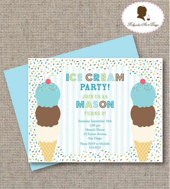 printable diy ice cream boy birthday party invitation