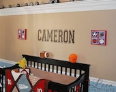 Name Monogram Wall Decal • Sports Fan Wall Decal • Teenage Room Wall Decal • Boys Room Girl • Man Cave Wall Decal