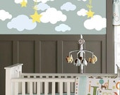 Clouds with Hanging Stars Set - Vinyl Wall Decals - Set of 22 Clouds and 3 Stars Hanging on Ribbon - You choose the color!