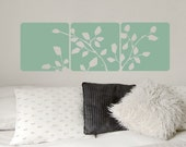 Three Panel Leaves and Branches Wall Decal • Leaves Wall Decal • Square Wall Decals • Bedroom, Family Room, Office, Den