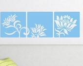 Floral Frames Wall Decals • Three Panel Wall Decal Floral Design • Customized Wall Decal • Solid Frame Wall Decals