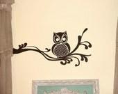 Owl on Fancy Branch Wall Art • Wall Decal • Owl Home Decor Wall Decal • Window Frame Wall Decal • Nursery Dining Breakfast Nook