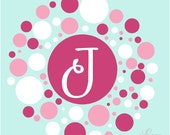 Lots of Circles and Dots Monogram Wall Decal • Large Initial Vinyl Wall Decal • Name Wall Decal • Splatter Wall Decal