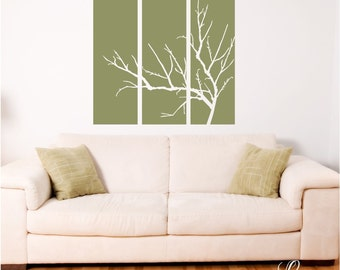 Three Panel with Bare Branches Wall Decal • Winter Tree Wall Stickers Set of Three Panels • Home Accent Wall Decal Bedroom Living room