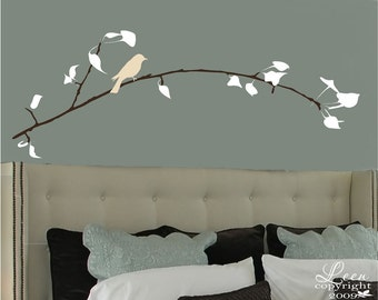 Waiting Bird on Tree Branch Wall Decal • Custom Removable Tree Wall Art • Three Color Customization • Personalize Girls Bedroom Nursery