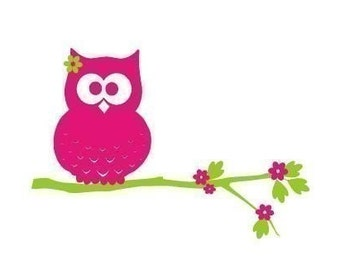 Mia the Owl on a Branch with Flowers Wall Decal - Medium Sized - Removable Vinyl Wall Decal - For Your Owl Themed Room