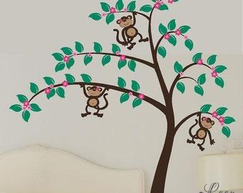Girl Monkeys in Large Flower Tree Vinyl Wall Decal • Monkeys in Tree with Flowers • Customize Girls Jungle Themed Bedroom Playroom Nursery