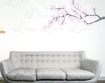 Double Flower Cherry Blossom Branch Wall Decal • Flower Wall Decal • Tree Branch Wall Decal • Japanese Cherry Blossom