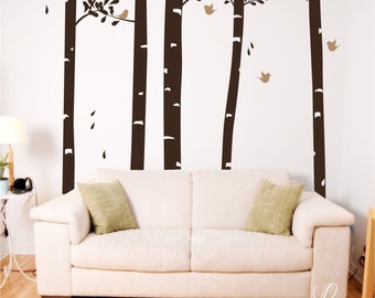 Birds in the Forest Vinyl Wall Decal • Large Tree Forest Theme Wall Decal • Nature Woodland Home Decor Customize Bedroom Playroom Nursery
