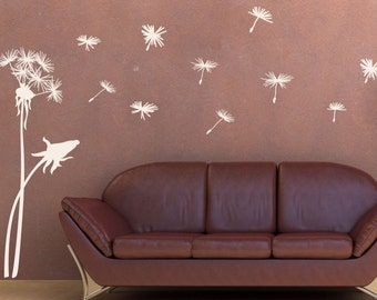 Dandelion Blowing in the Wind Wall Decal • LARGE Wall Decal • Dandelion Wall Decal • Flower Wall Decal • Large Wall Decor