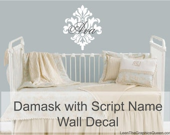 Monogram Damask Wall Decal with Script Name • Damask Wall Decal • Script Name Wall Decal • Customize Script Wall Decal • Girls Room Bedroom